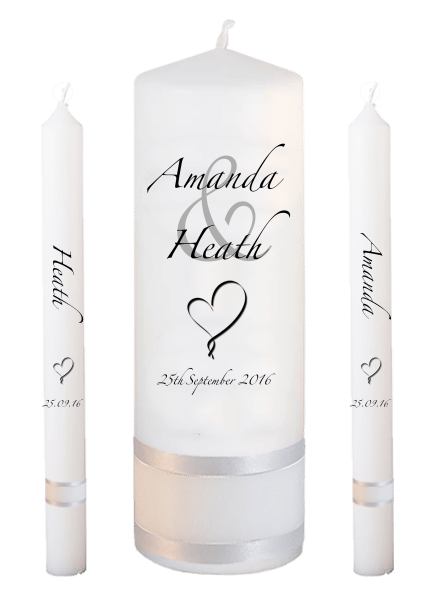 Wedding Candle Lighting Set Modern font 3 heart
