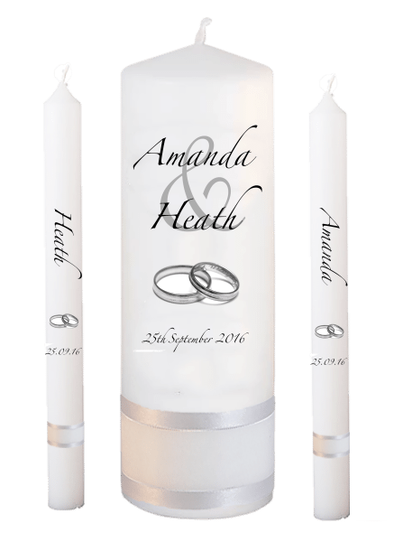 Wedding Candle Lighting Set Modern font 3 silver rings