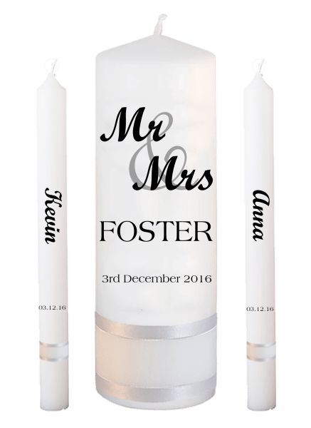 Wedding Candle Lighting Set Mr & Mrs Font 1