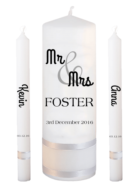 Wedding Candle Set Lighting Mr and Mrs Font 4