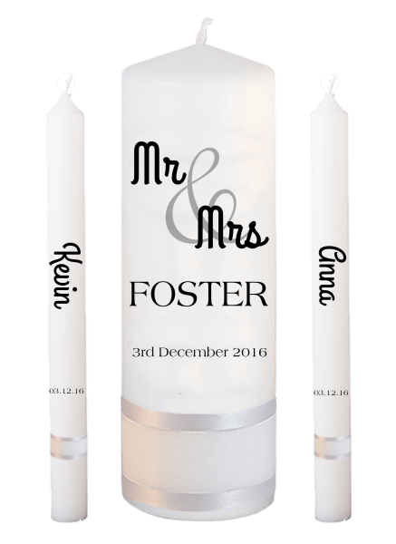 Wedding Candle Lighting Set Mr & Mrs Font 4