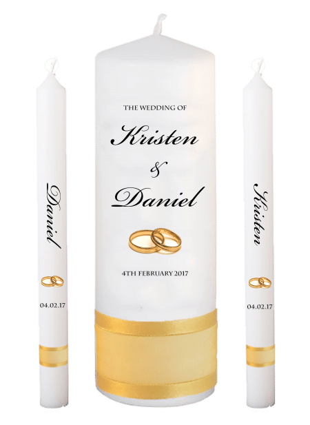 Wedding Candle Set Lighting Formal Font 1 gold rings