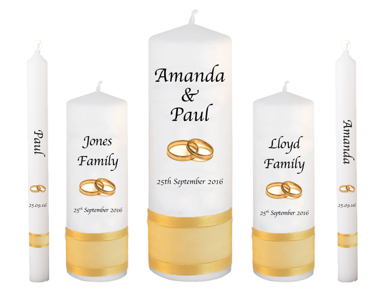 Wedding Candle Set Deluxe Font 1 gold rings