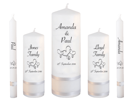 Wedding Candle Set Deluxe Font 4 hearts