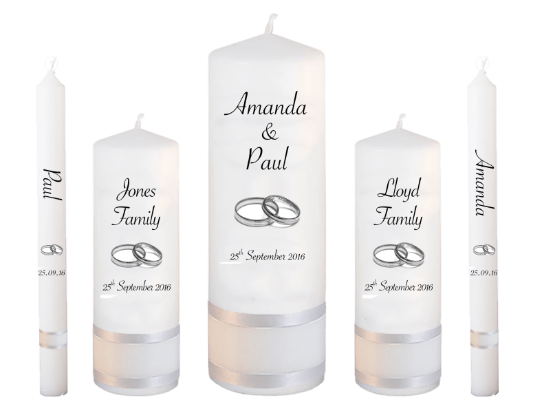 wedding candle set deluxe font 4 silver rings