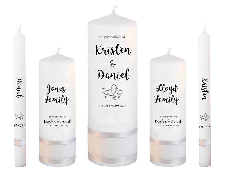 Wedding Candle Set Deluxe Formal font 3 - hearts