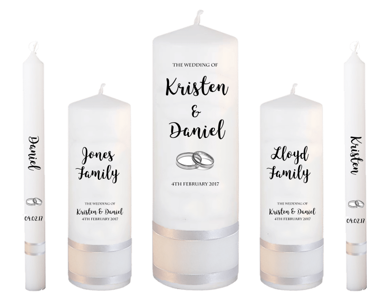Wedding Candle Set Deluxe Formal font 3 - silver rings