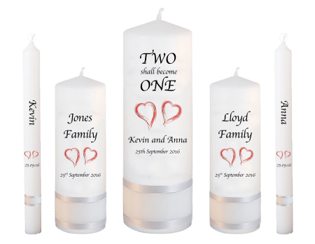Wedding Candle Set Deluxe Inscription Font 1 Red Hearts
