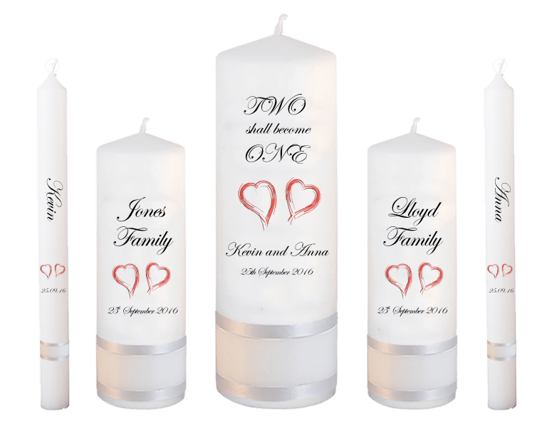 Wedding Candle Set Deluxe Two Shall font 2 - red hearts