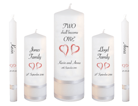Wedding Candle Set Deluxe Inscription Font 4 Red Hearts