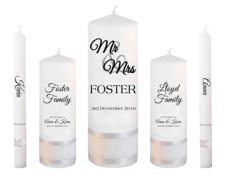 Wedding Candle Set Deluxe Mr & Mrs Font 2