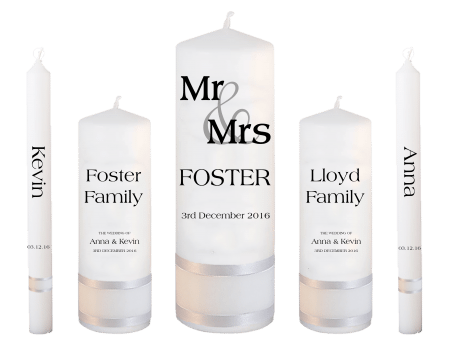 Wedding Candle Set Deluxe Mr & Mrs Font 3