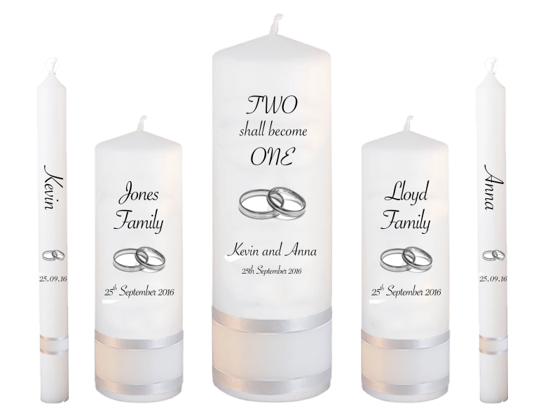 Wedding Candle Set Deluxe Inscription Font 4 Silver Rings