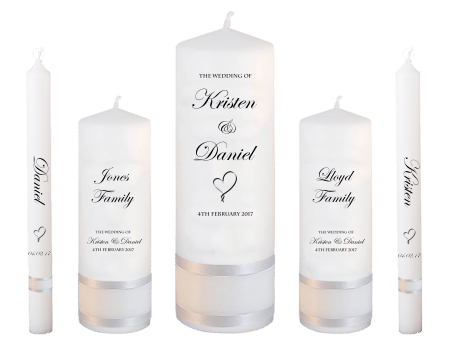 Wedding Candle Set Deluxe Formal Font 2 Heart