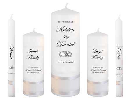 Wedding Candle Set Deluxe Formal Font 2 Silver Rings