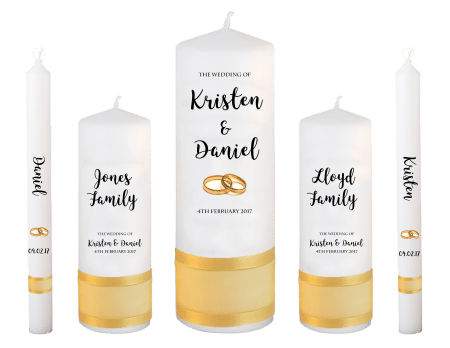Wedding Candle Set Deluxe Formal Font 3 Gold Rings