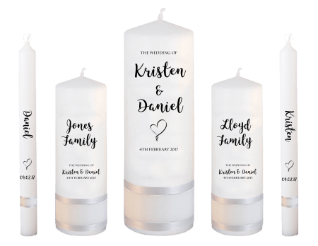 Wedding Candle Set Deluxe Formal Font 3 Heart