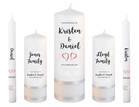 Wedding Candle Set Deluxe Formal Font 3 Red Hearts