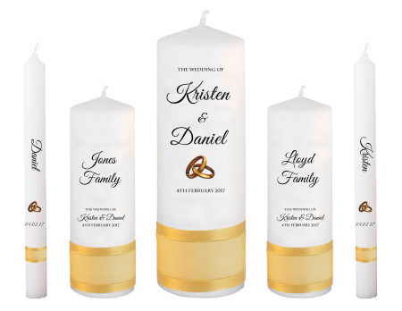 Wedding Candle Set Deluxe Formal Font 5 Gold Rings Upright