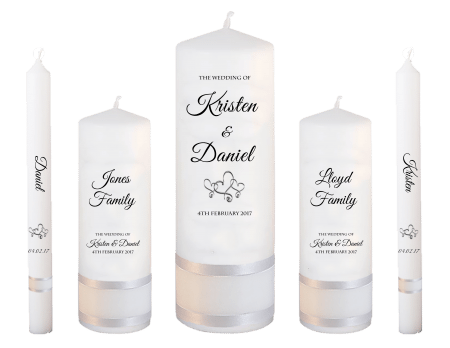 Wedding Candle Set Deluxe Formal Font 5 Hearts