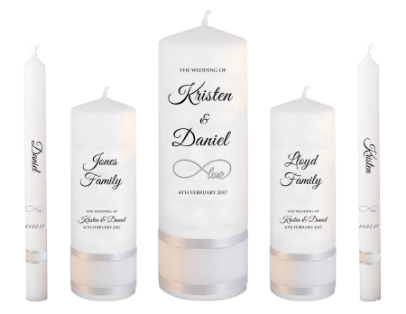 Wedding Candle Set Deluxe Formal Font 5 Love
