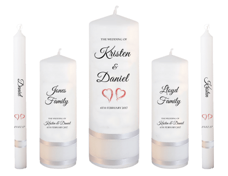 Wedding Candle Set Deluxe Formal Font 5 Red Hearts