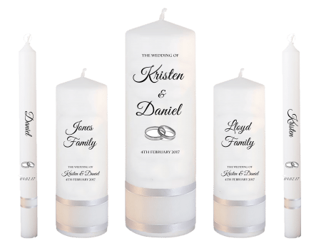 Wedding Candle Set Deluxe Formal Font 5 Silver Rings