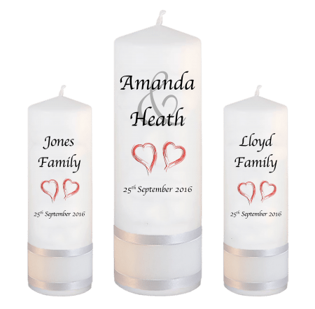 Wedding Unity Candle Set Modern Font 1 Red Hearts