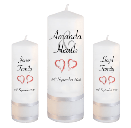 Wedding Unity Candle Set Modern Font 4 Red Hearts