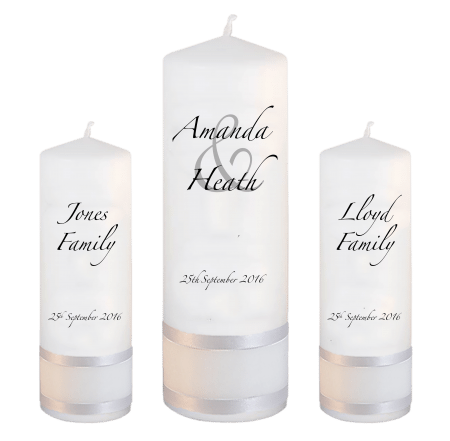 Wedding Unity Candle Set Modern Font 3 No Motif