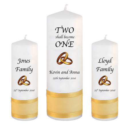 Wedding Unity Candle Set InscriptionFont 1 Gold Rings Upright