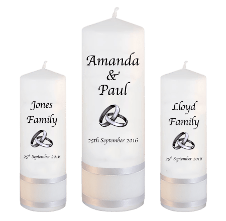Wedding Unity Candle Set Classic Font 1 Silver Rings Upright