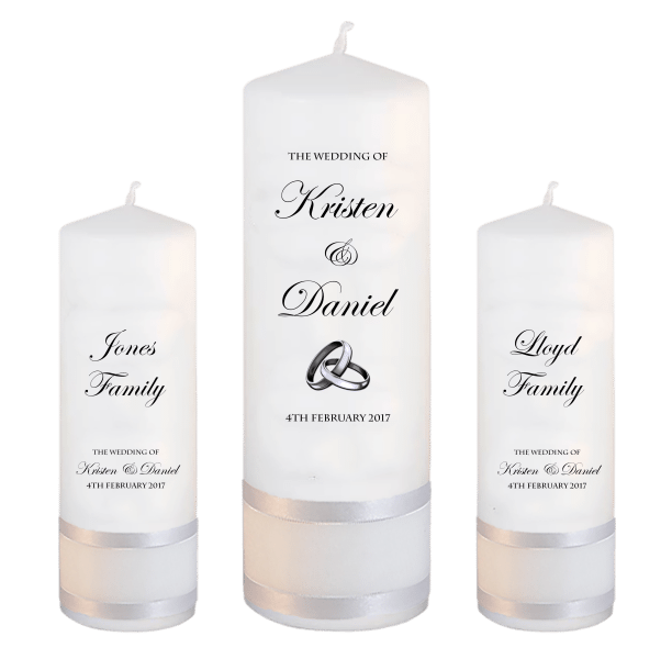 Wedding Candle Sets Formal font 2 - silver rings upright