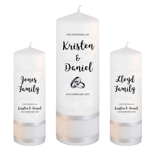 Wedding Candle Sets Formal font 3 - silver rings upright