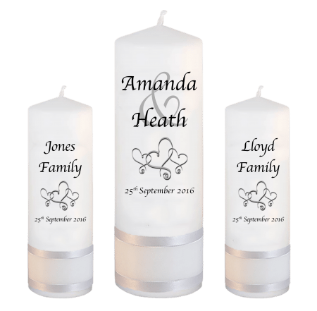 Wedding Unity Candle Set Modern Font 1 Hearts