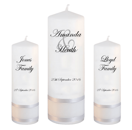 Wedding Unity Candle Set Modern Font 2 No Motif