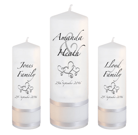 Wedding Unity Candle Set Modern Font 3 Hearts