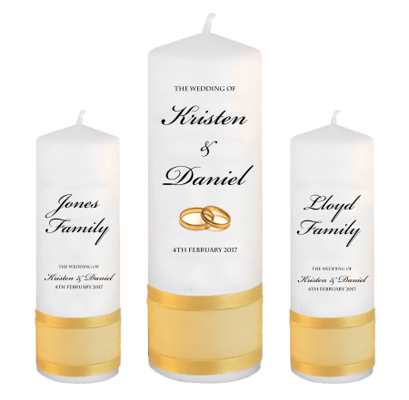 Wedding Unity Candle Set Formal Font 1 Gold Rings