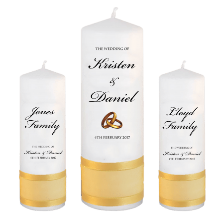 Wedding Unity Candle Set Formal Font 1 Gold Rings Upright