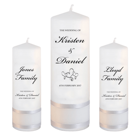 Wedding Unity Candle Set Formal Font 1 Hearts