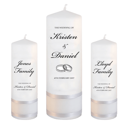 Wedding Unity Candle Set Formal Font 1 Silver Rings