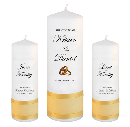 Wedding Unity Candle Set Formal Font 2 gold rings upright