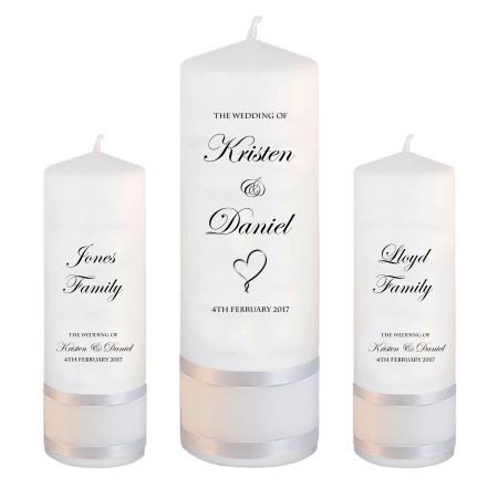 Wedding Unity Candle Set Formal Font 2 Heart