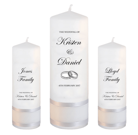 Wedding Unity Candle Set Formal Font 2 silver rings