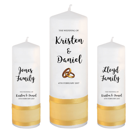 Wedding Unity Candle Set Formal Font 3 Gold Rings Upright