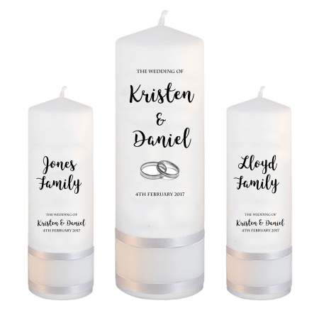 Wedding Unity Candle Set Formal Font 3 Silver Rings