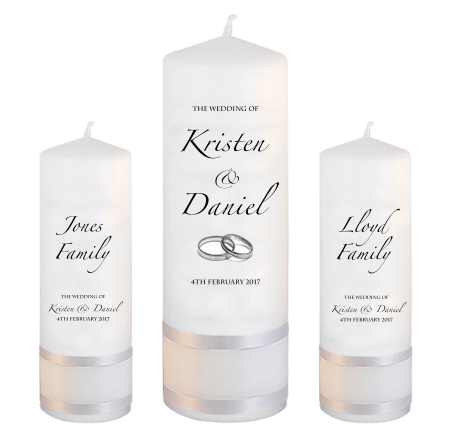 Wedding Unity Candle Set Formal Font 4 Silver Rings