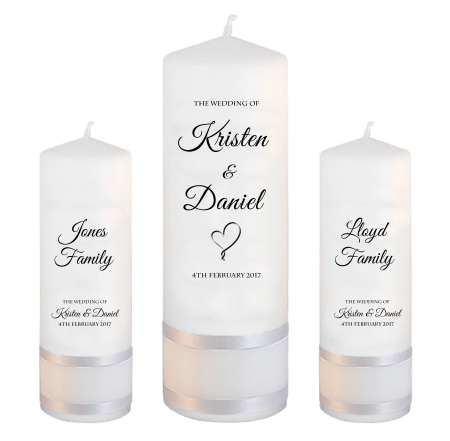 Wedding Unity Candle Set Formal Font 5 Heart