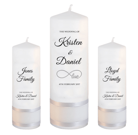 Wedding Unity Candle Set Formal Font 5 Love