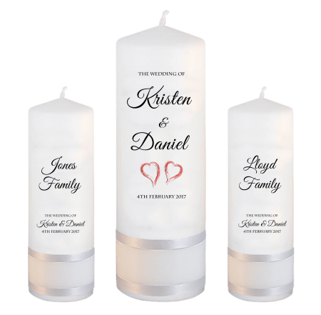 Wedding Unity Candle Set Formal Font 5 Red Hearts